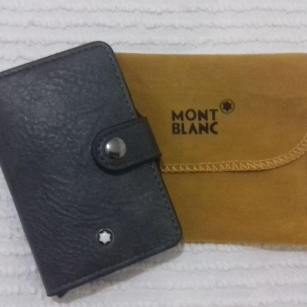 Carteira mini mont blanc porta cartão couro cinza escuro