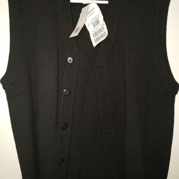 Colete de lã preto, masculino, tamanho p