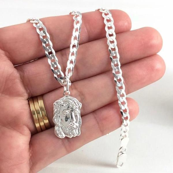Conjunto corrente e pulseira prata maciça 925 gurmet 70cm