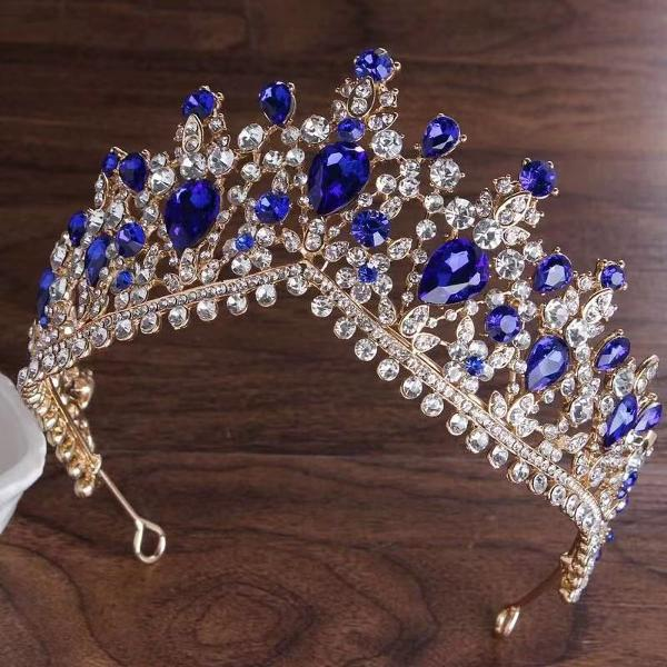 Coroa azul tiara porta coque para penteado festa casamento