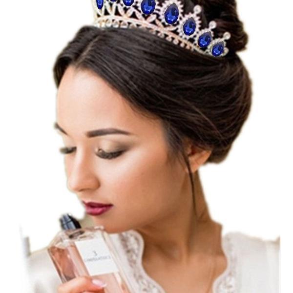 Coroa tiara porta coque azul gota cristais para penteado