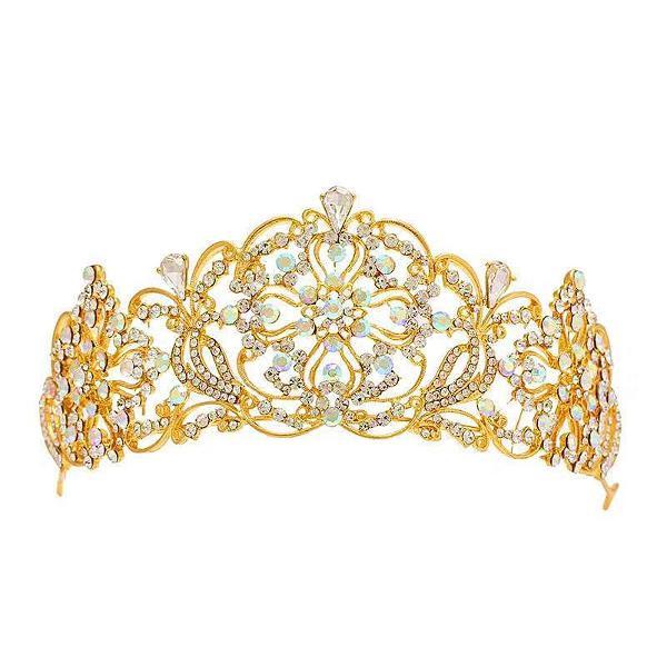 Coroa tiara porta coque dourado para penteado festa