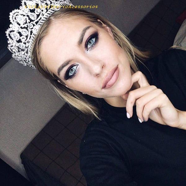 Coroa tiara porta coque para penteado noiva casamento brilho