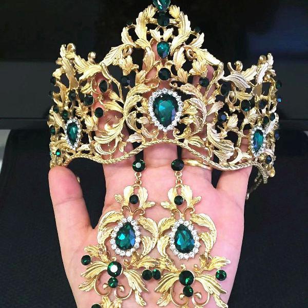 Coroa tiara porta coque verde dourada brilho conjuntos +