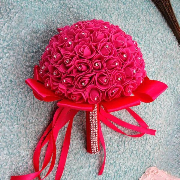 Lindo buquê de noiva rosa escuro com brilho