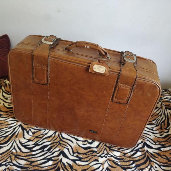 Mala de viagem vymar anos 70 modelo antigo couro legítimo