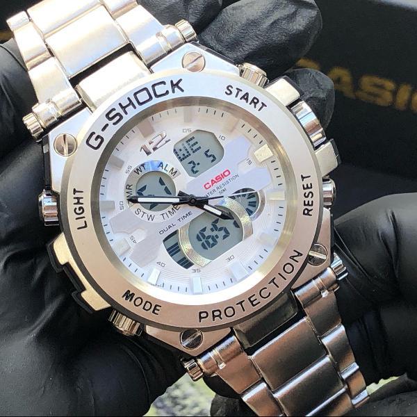 Relógio casio g shock prateado analogico e digital