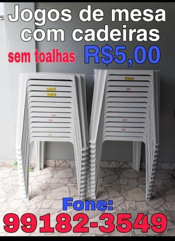 Aluguel de mesa e cadeiras sem toalhas r$5,00