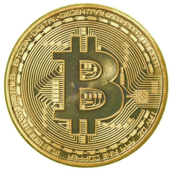 Bitcoin moeda física edição comemorativa banhada a ouro