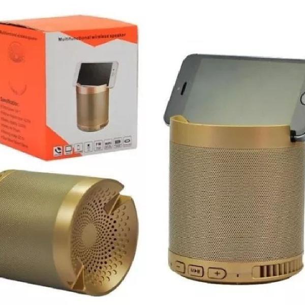 Caixa de som bluetooth suporte celular