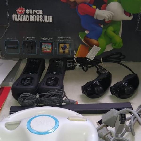 Nintendo wii super mario bros. + 10 jogos + consoles extras