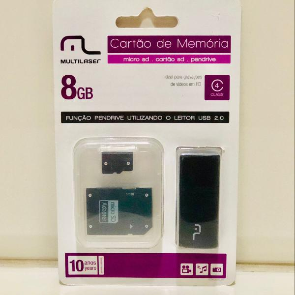 Cartão sd de memória 8 gb - lacrado