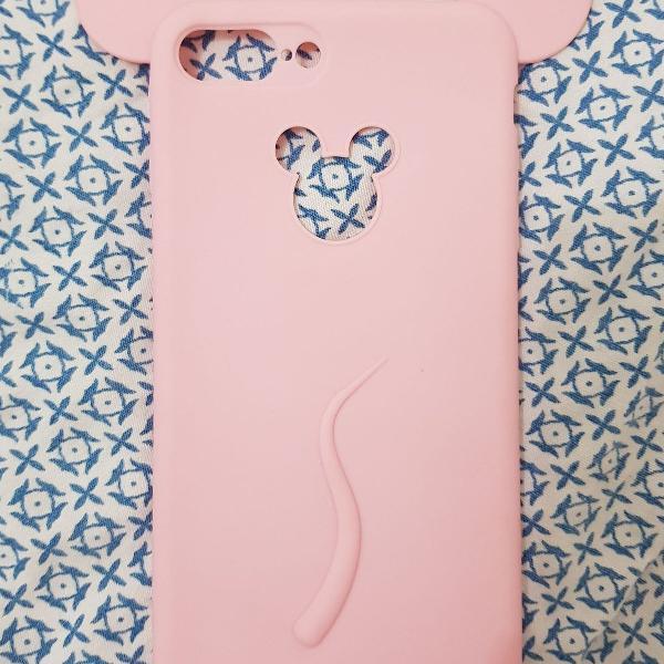Case silicone iphone 7/8 plus rosa quartzo mickey