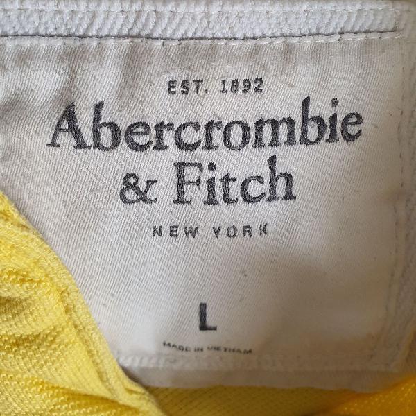 Abercrombie & fitch - polo masculina amarela, tamanho l,