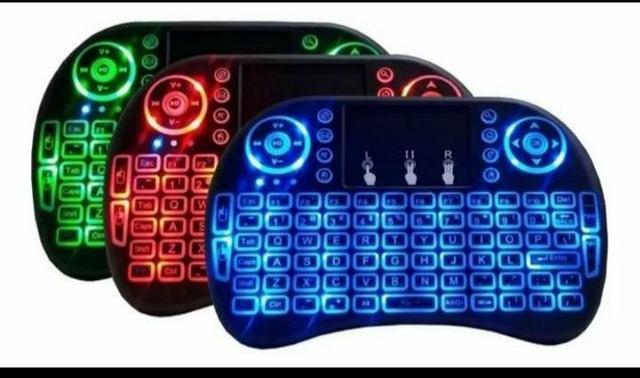 Mini teclado com led pra tv box pra pc notebook