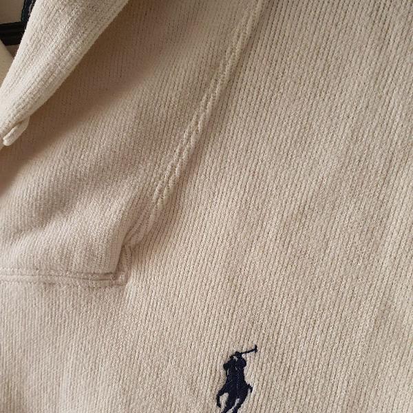 Polo ralph lauren - blusa de moleton masculina, cor cru, com
