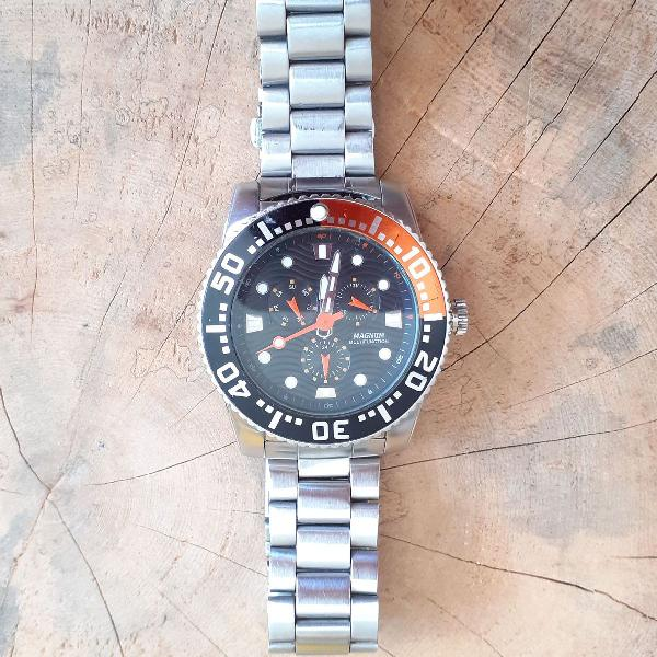 Relógio magnum aço inox