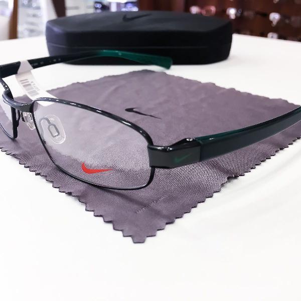 Armação óculos nike 8092 323 metal preto verde masculino
