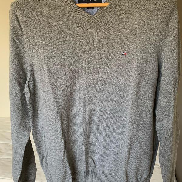 Blusa malha sweater tommy hilfiger cinza gola v