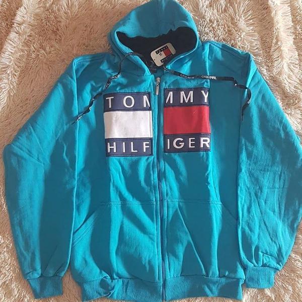 Blusa moletom tommy hilfiger azul claro tam p e m