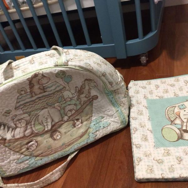 Bolsa maternidade e porta roupa em patchwork