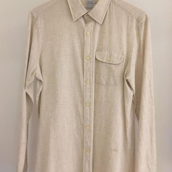 Camisa linho algodão bege richards