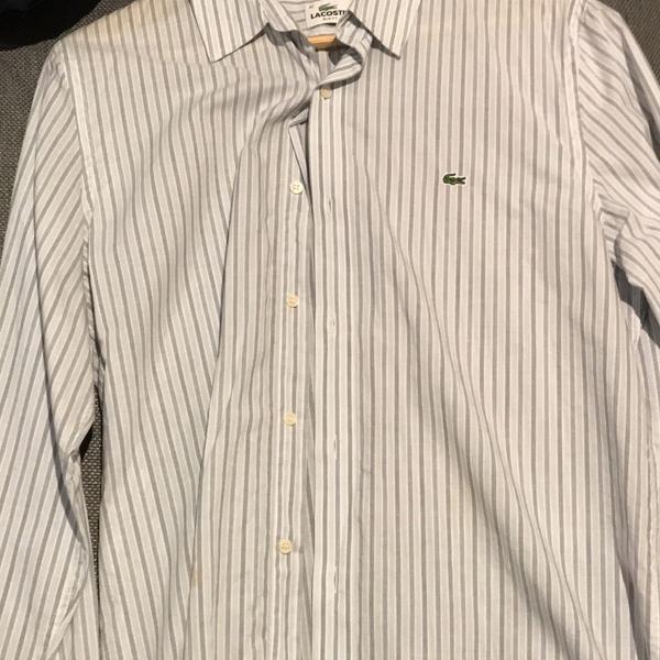 Camisa listrada lacoste - azul claro e branco