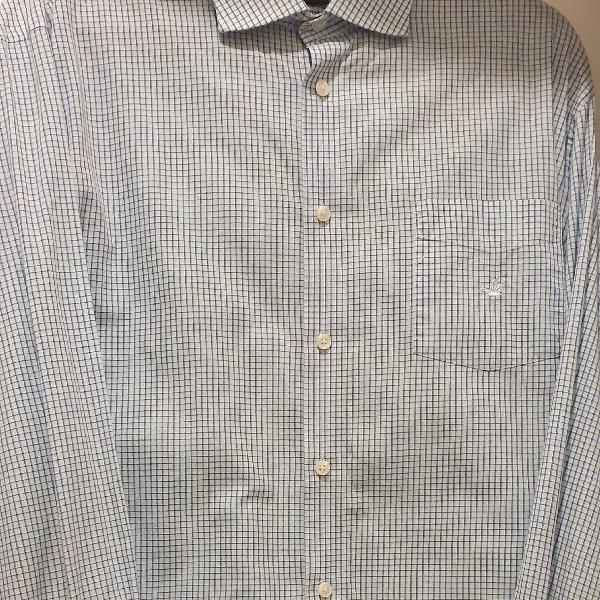 Camisa masculina manga longa broksfield xadrez azul clarinho