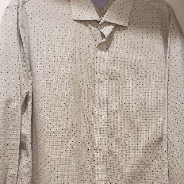 Camisa masculina manga longa tommy hilfiger, cinza clarinho