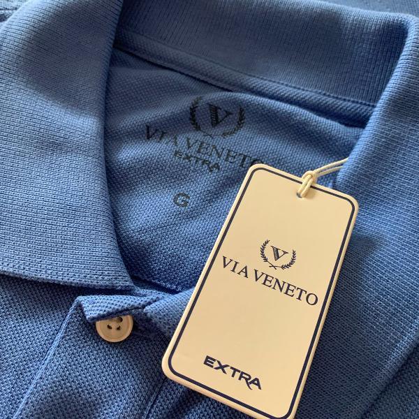 Camisa polo azul - tam g - loja via veneto
