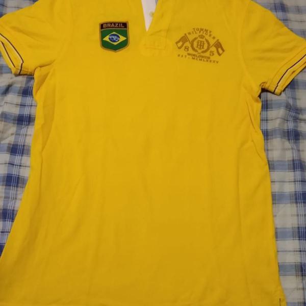 Camiseta polo amarela tommy hilfiger