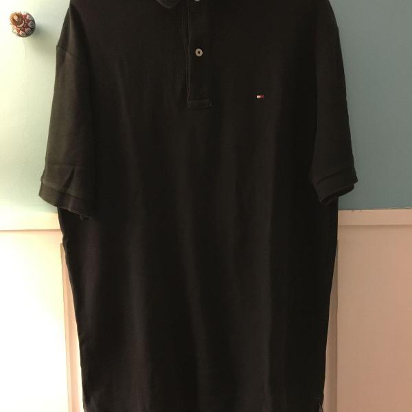 Camiseta polo tommy hilfiger preta classica
