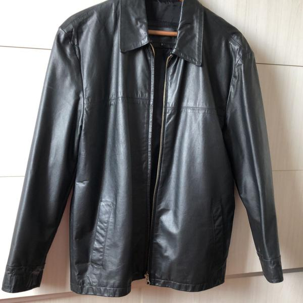 casaco couro preto y|man masculino