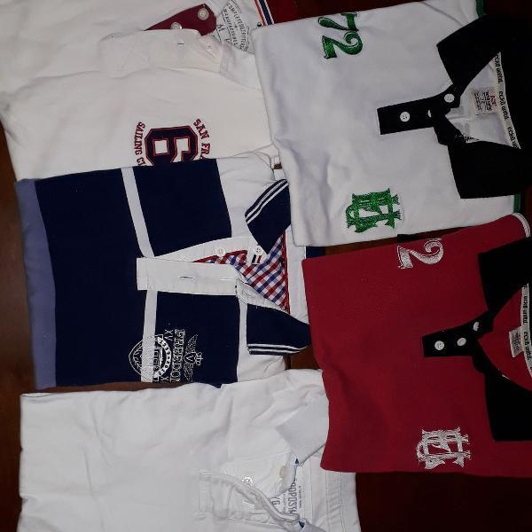 Kit 5 camisas polos de marca - originais