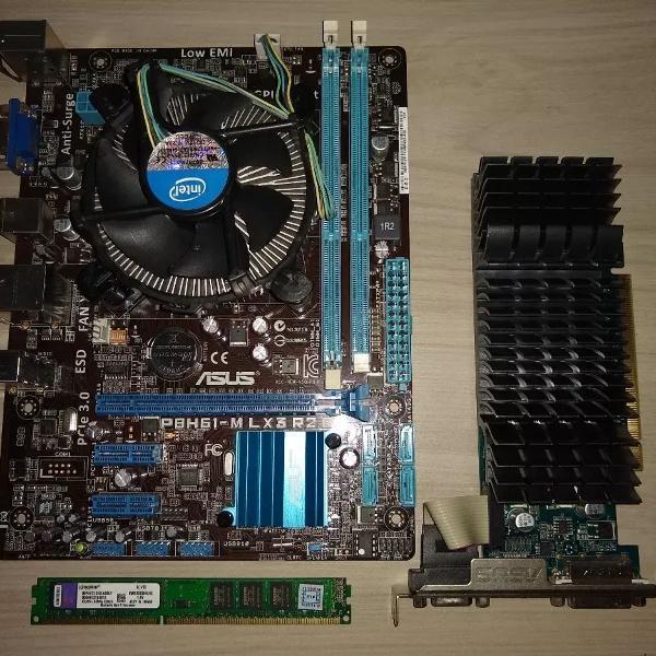 Placa mãe p8h61-m + processador i3 3240 + 8gb+ placa video