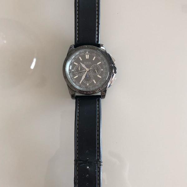 Relógio masculino guess pulseira de couro