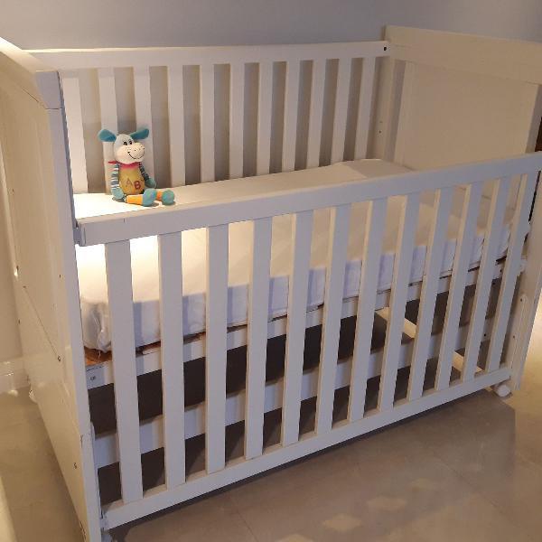Berço mini cama unissex branco + colchão