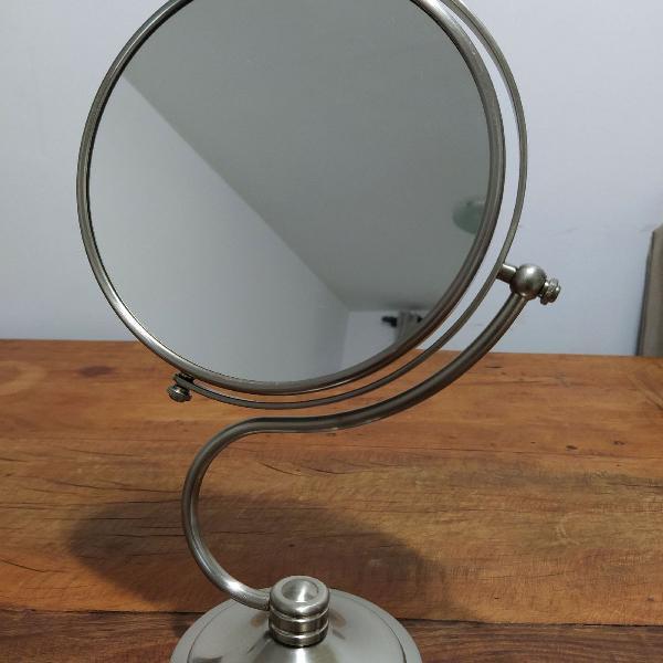 Espelho de bancada redondo, duplo, giratório, em aço inox