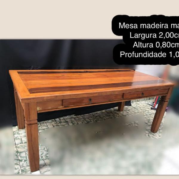 Mesa de madeira maciça grande madeira demolição