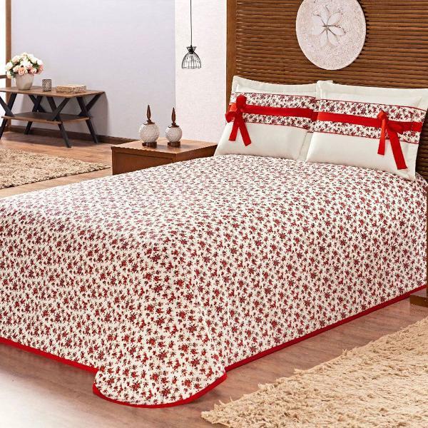 Colcha cobre leito cama casal holambra 3 peças estampado