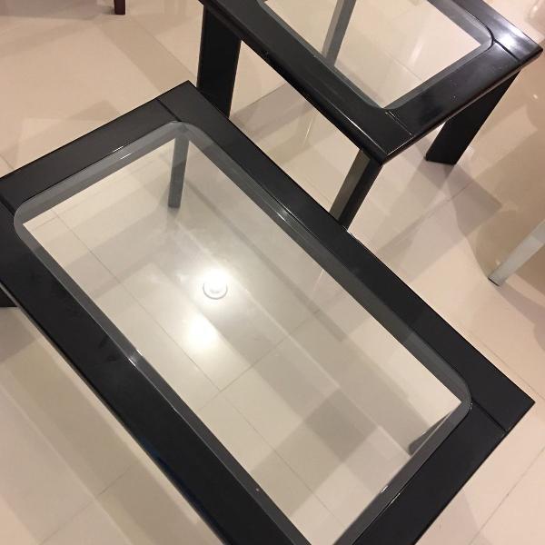 Mesa de centro e lateral em laca preta
