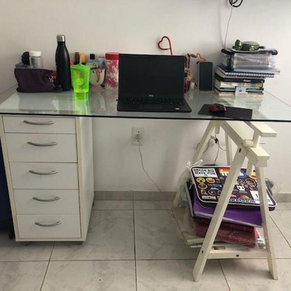 Mesa de escritório tampa de vidro