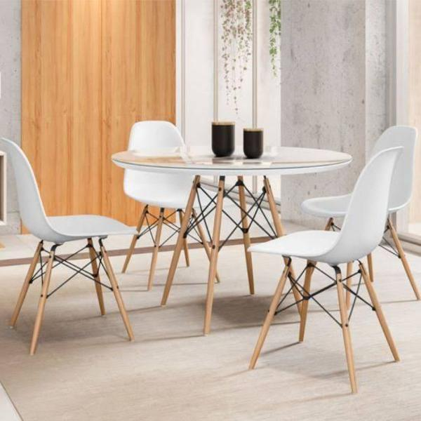 mesa de jantar 4 cadeiras redonda - tampo de vidro travel