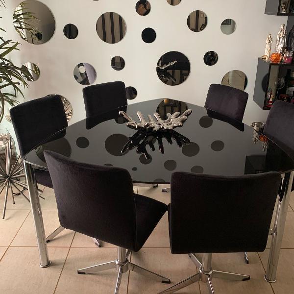 Mesa de jantar triangular tok stok com 6 cadeiras