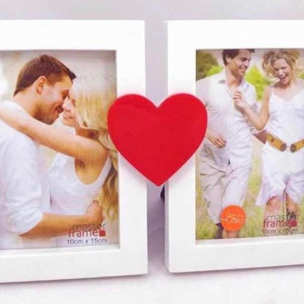 Porta retrato coração duplo 10 x 15 namorados love