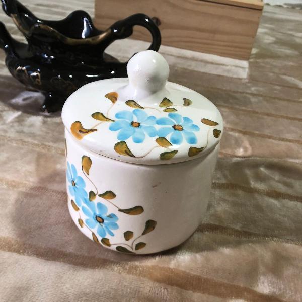 Pote vaso em cerâmica pintado à mão antigo decorativo