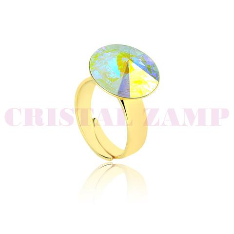 Anel marca cz, banhado a ouro decorado com cristais da