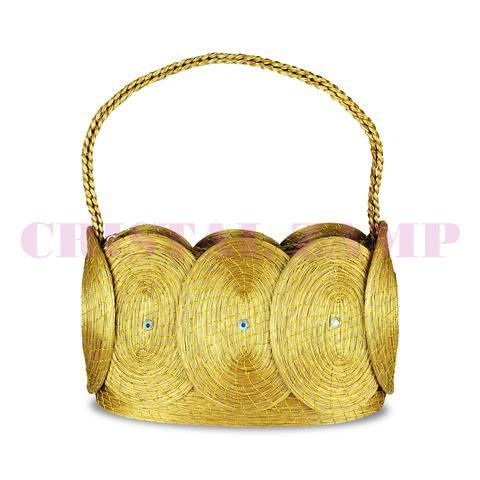 Bolsa de capim dourado decorada com cristais de swarovski®