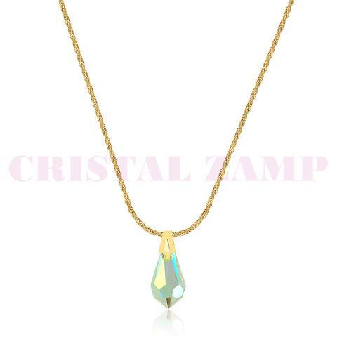 Gargantilha marca cz, banhada a ouro decorada com cristais