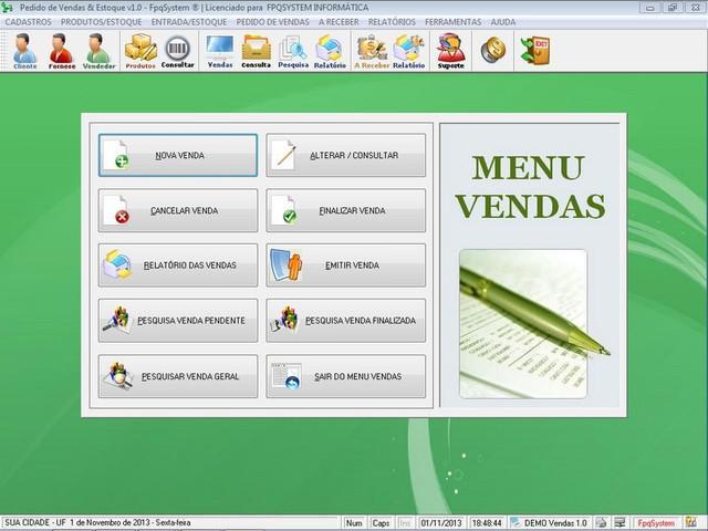 Programa Controle de Estoque e Pedido de Vendas v1.0 -